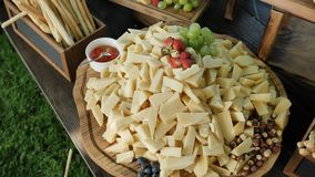 Catering service. Station with a large assorted cheese cheddar, gorgonzola, brie, gouda cheese, parmesan, feta, ricotta. Maasdam, emmental and gruye. 4k camera stock footage