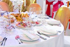 Catering service table decoration Stock Image