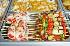 Catering service table with food set Stock Image