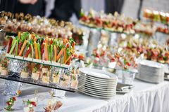 Catering service table with food set Royalty Free Stock Image