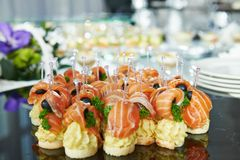Catering service table with food set Stock Images
