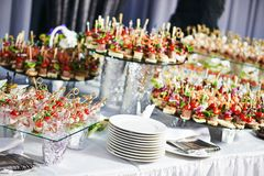 Catering service table with food set Royalty Free Stock Photos