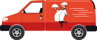 Catering service. Catering van with a chef carrying a serving tray, EPS 8 vector illustration, no transparencies royalty free illustration