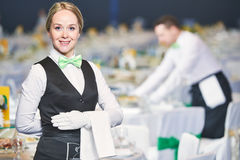 Catering service. waitress on duty Royalty Free Stock Photos