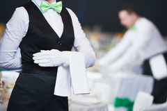 Catering Service. Waitress On Duty In Restaurant Stock Images