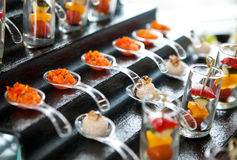 Catering services background with snacks on guests table Royalty Free Stock Photo