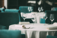Catering services. Empty glasses set in restaurant Royalty Free Stock Images