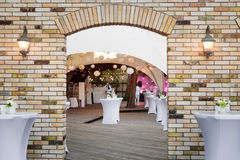 Catering services in restaurant. Wedding table reception on wedding ceremony in the park. stock photos