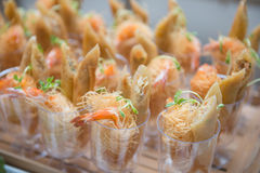 Catering services on table at wedding party Royalty Free Stock Photo