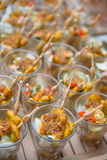Catering services on table at wedding party Stock Photos