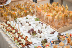 Catering services on table at wedding party Royalty Free Stock Images