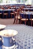 Catering set. Indoor, with round tables Royalty Free Stock Photography