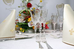 Catering set table. Catering service table with decoration in restaurant Stock Photo