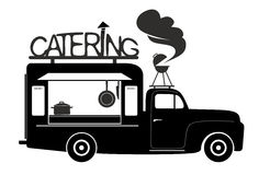Catering. Side view of a food truck of catering van stock illustration