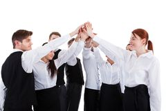 Catering staff making high five gesture Stock Photos