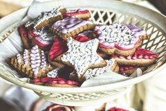 Catering. sweets to the US Independence Day. Biscuits with star-shaped cream. Shallow depth of field. Christmas baking. Close up royalty free stock photos