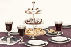 Catering table with cookies. And wine Stock Image