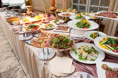 Catering table full of food Stock Photography