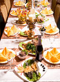 Catering table set service Royalty Free Stock Images