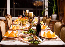 Catering table set service. With silverware and glass stemware for an event party Stock Images