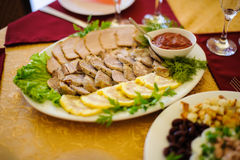 Catering table set service at restaurant Stock Photos