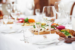 Catering table set service at restaurant Royalty Free Stock Image