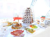 Catering table set service with silverware Stock Photo