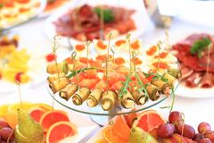 Catering table set service with silverware Stock Image