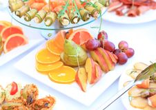 Catering table set service with silverware Stock Photography