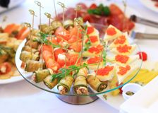 Catering table set service with silverware Royalty Free Stock Images