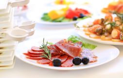 Catering table set service with silverware Stock Photos