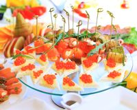Catering table set service with silverware Royalty Free Stock Photo