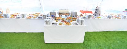 Catering table set service Royalty Free Stock Photography