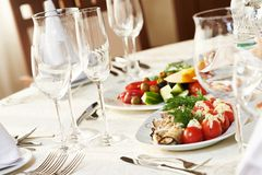 Catering table set Stock Images