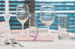 Catering table with stemware Royalty Free Stock Image