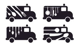 Catering. Van with cutlery as symbol for catering stock illustration