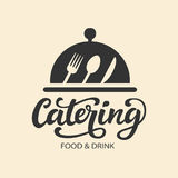 Catering vector logo badge with hand written modern calligraphy. Elegant lettering logotype, vintage retro style. Restaurant service for events and party royalty free illustration