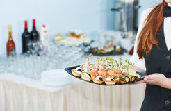 Catering waitress service. woman at restaurant event Royalty Free Stock Photography