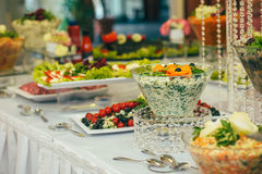 Catering wedding bride table. Party Royalty Free Stock Images