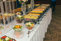 Catering wedding bride table. Party Stock Photo