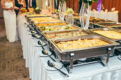 Catering wedding bride table. Party Stock Photography