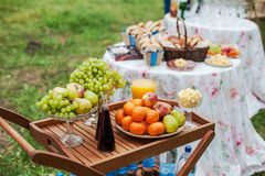 Catering for wedding. Dessert table. Dessert table whith fresh fruits and cheese outdoors Stock Images