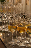 Catering wine glasses. Arrangement of wine and champagne glasses in catering service Stock Image