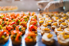 Cateringsspecialiteiten voor een gebeurtenis worden geschikt die Stock Fotografie
