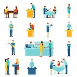 Cateringu usługowego mieszkania ikony ustawiać Zdjęcia Stock