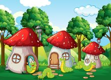 Caterpillar à la maison de champignon illustration libre de droits