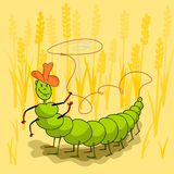 Caterpillar. This is the caterpillar throws a lasso. It is a theme of summer Stock Photography