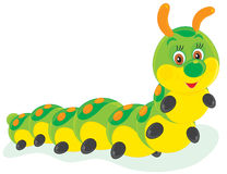 Caterpillar. Vector clip-art illustration of a creeping caterpillar friendly smiling Stock Image