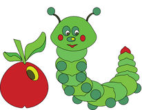 Caterpillar. Green caterpillar with red apple Stock Images