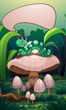 A caterpillar above a mushroom with an empty callout Royalty Free Stock Photography